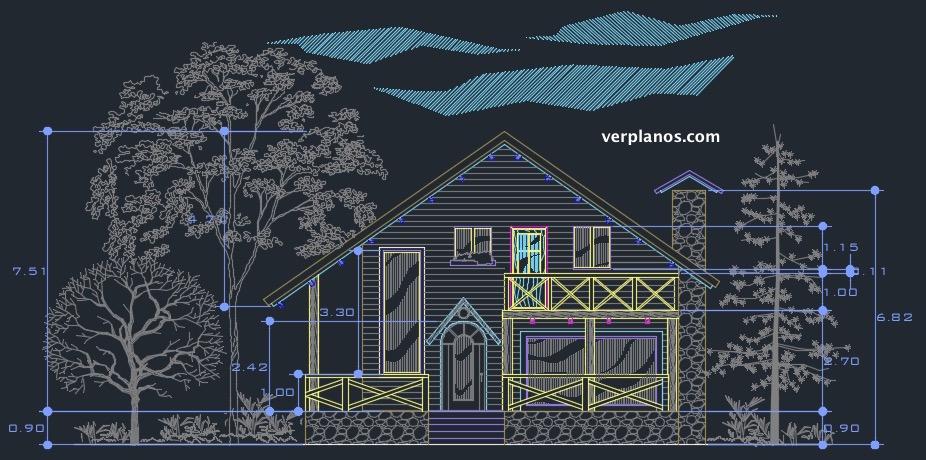 descargar plano de casa de 10x10 en archivo dwg gratis