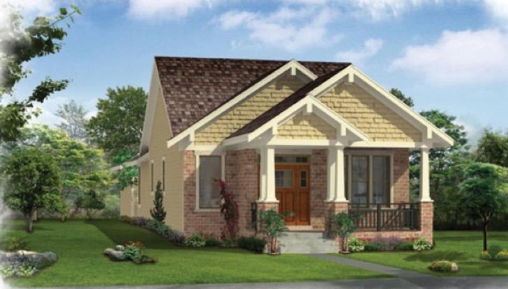 Fachada de este plano de casa grande para sitio angosto.