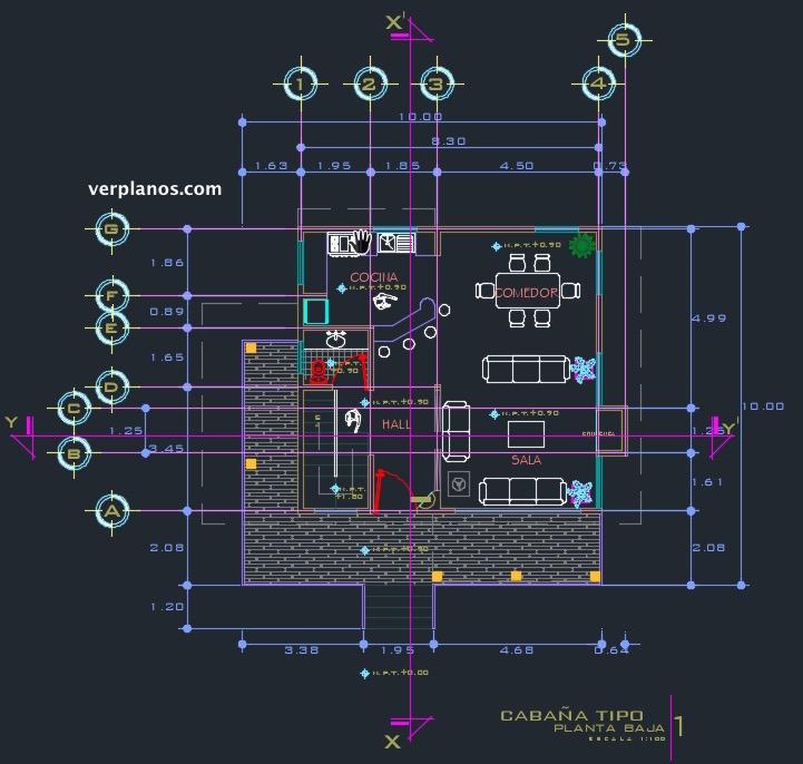 Descargar plano de casa de 10x10 en archivo dwg gratis - Cad casa gratis ...