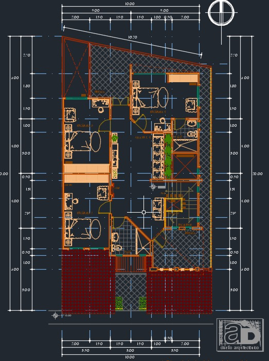 Plano de casa de 4 dormitorios 2 niveles 10x20mtrs dwg for Casa minimalista dwg