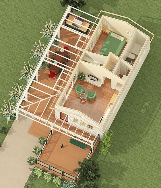 Plano de caba a de 38m2 con 1 dormitorio for Planos de chalets modernos