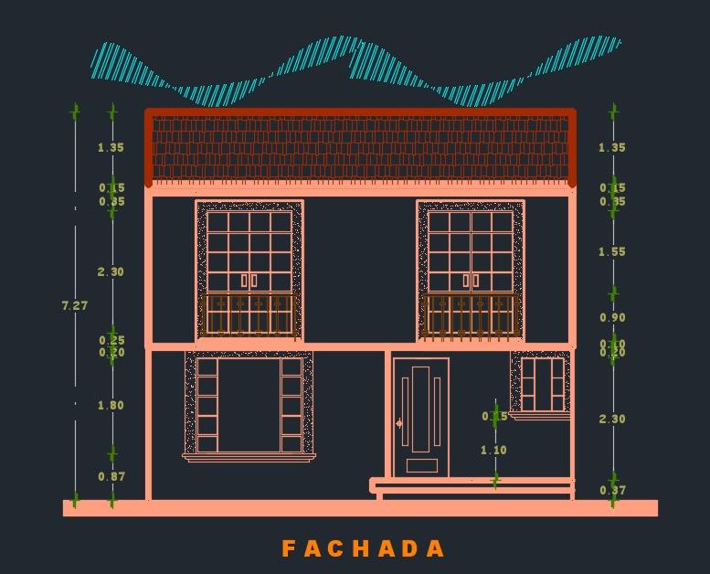 Plano de casa de 2 pisos con 3 dormitorios archivo cad dwg for Casas en 2d