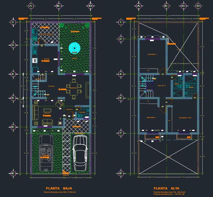 Planos de casa de 2 pisos y 3 dormitorios bajar cad dwg for Planos de arquitectura pdf