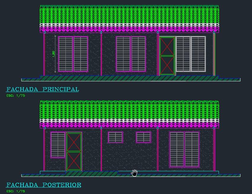Plano de casa social 70m2 y 3 dormitorios archivo dwg for Planos de casas rusticas gratis
