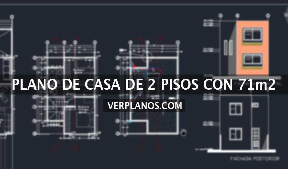Vivienda de 2 pisos con 3 dormitorios y un total de 71m2 for Planos de casas en linea