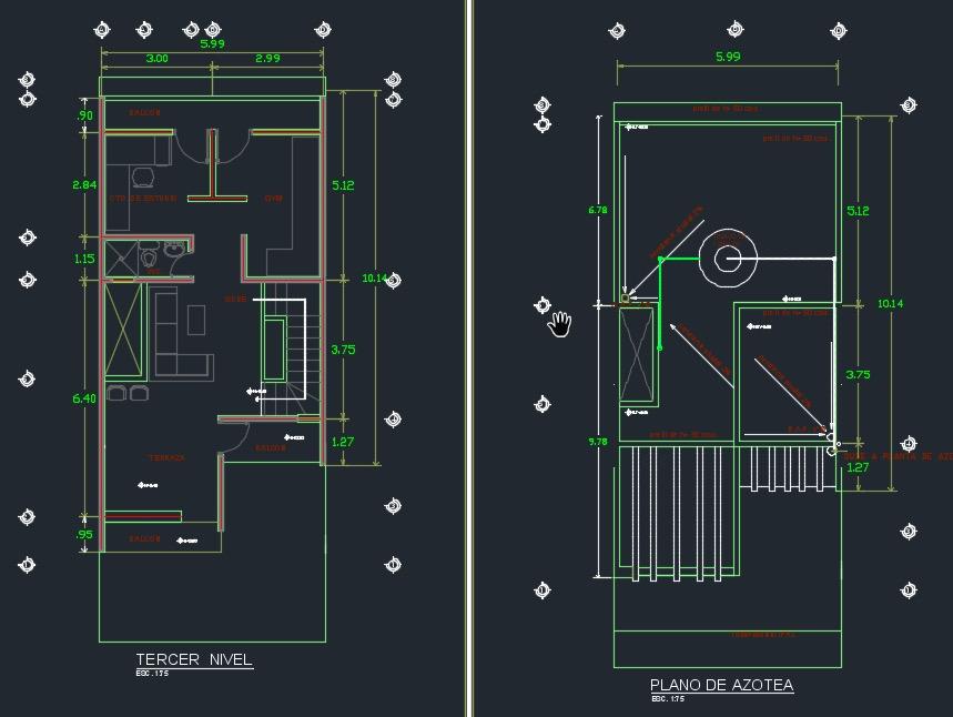 plano tercero y asotea casa 3 pisos