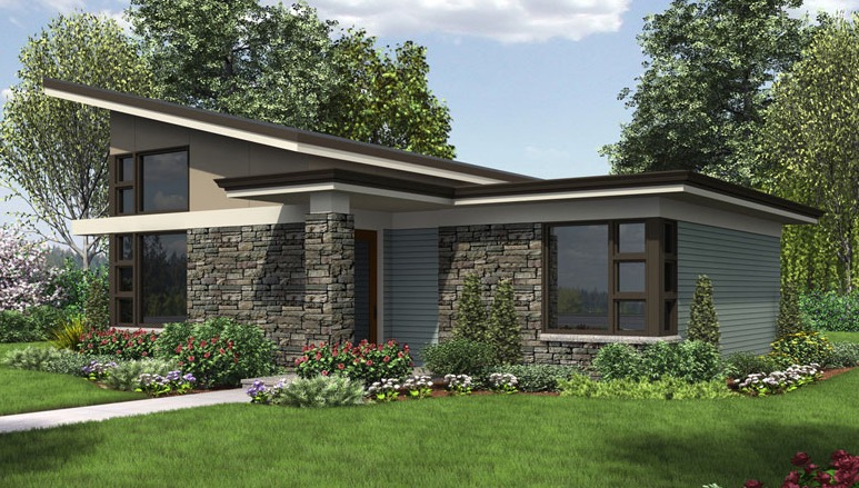 Plano de casa moderna de 1 nivel 80 m2 aproximadamente for Fachadas de casas de un solo piso