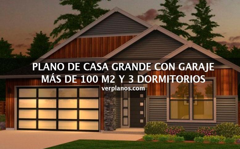 Idea de plano de casa grande con m s de 100m2 y 3 dormitorios - Planos de casas grandes ...