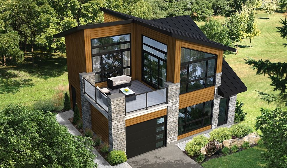 Incre ble plano de casa lujosa de 85m2 en 2 pisos for Fachada casa 2 pisos