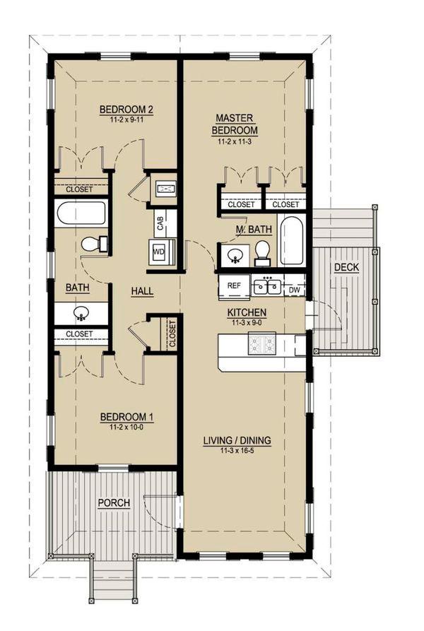 Plano de casa de campo de 95m2 con 3 dormitorios for Planos de madera
