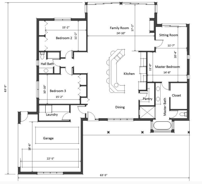 Plano de casa grande y moderna de 3 dormitorios 1 piso for Plano casa moderna 3 habitaciones