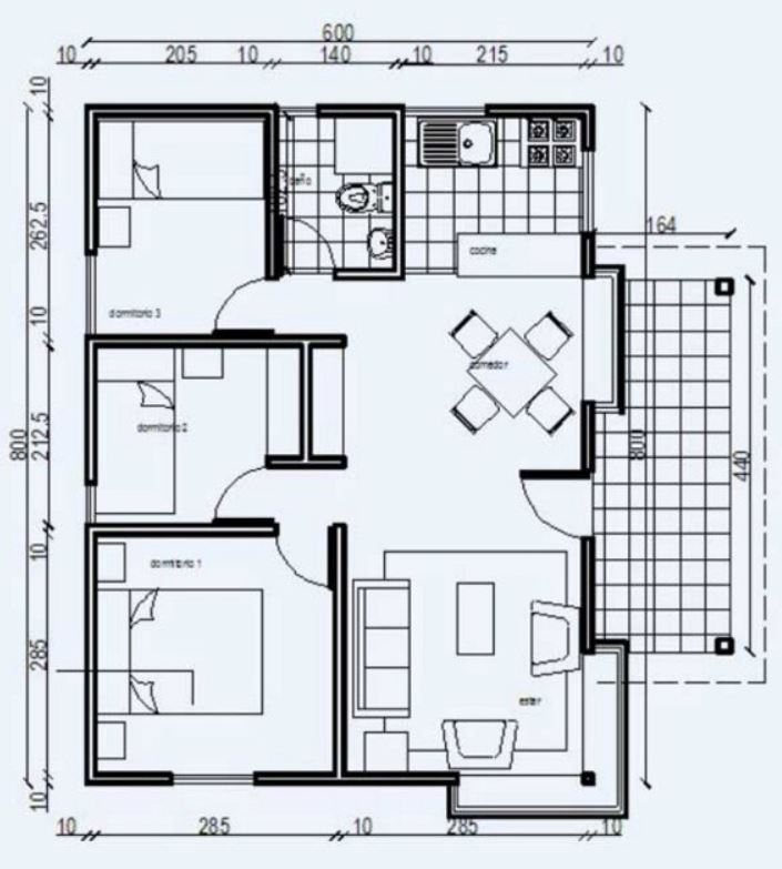 Plano de casa econ mica de 48m2 y 3 dormitorios for Planos arquitectonicos de casas