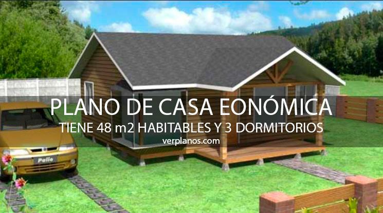 Plano de casa econ mica de 48m2 y 3 dormitorios for Planos de casas economicas de 3 dormitorios