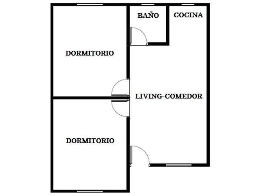 Planos de casa econ mica de 42m2 y 2 dormitorios for Planos de viviendas de 2 dormitorios