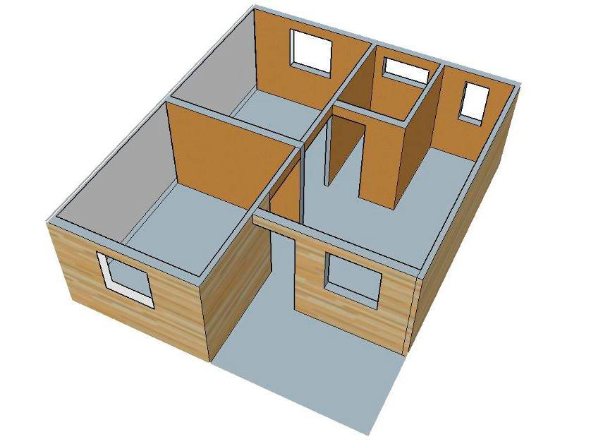 Planos de casa econ mica de 42m2 y 2 dormitorios for Habitaciones 3d gratis
