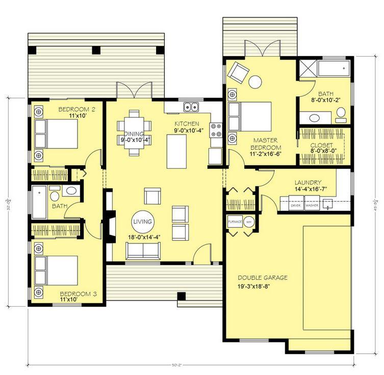 Un cl sico plano de casa grande con 3 dormitorios y 1 piso for Piso 1 dormitorio