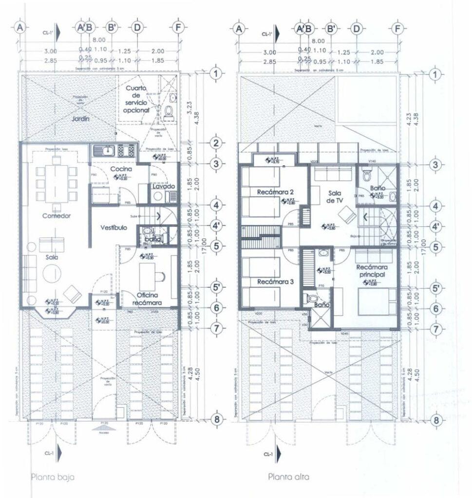 Plano de casa habitaci n dos niveles 4 habitaciones for Medidas en arquitectura pdf