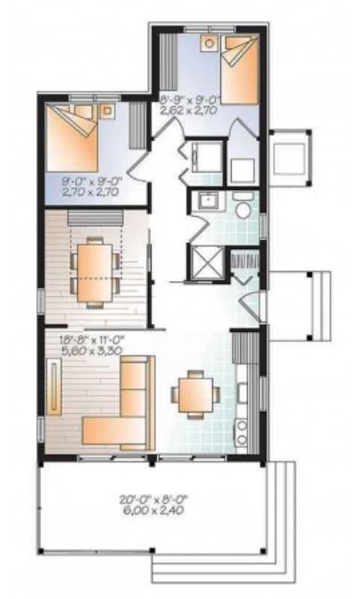 Plano de casa de 65m2 con 2 dormitorios y 1 piso for Plano casa 2 dormitorios