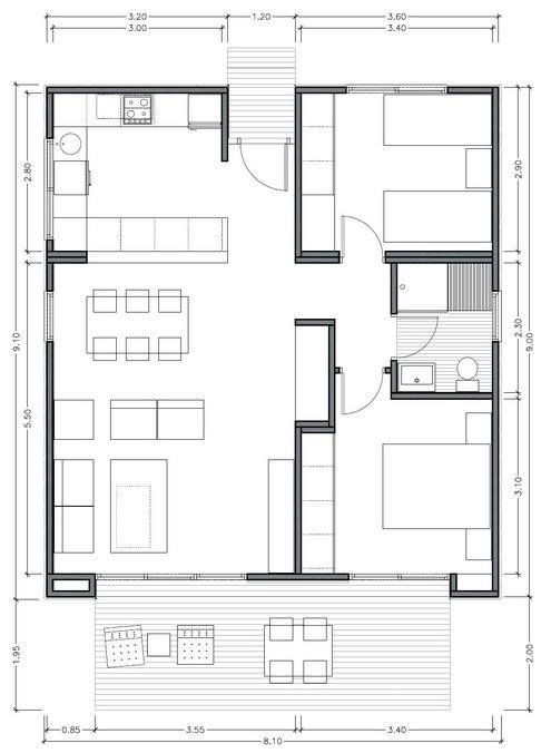 Plano de casa moderna de 75m2 con 2 dormitorios Planos interiores de casas modernas