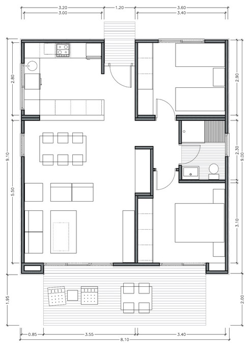 Plano de casa moderna de 75m2 con 2 dormitorios for Casa moderna de 70 metros cuadrados