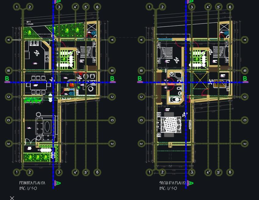 Descargar plano de casa de 2 pisos en dwg for Casa minimalista planos dwg