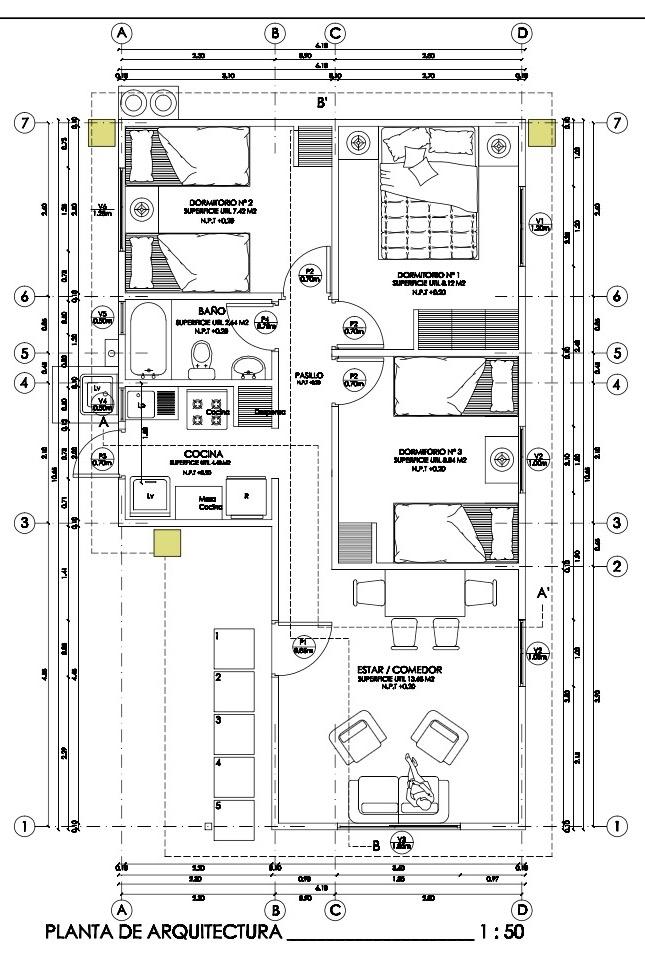Plano De Casa Social Con 3 Habitaciones Y 54m2