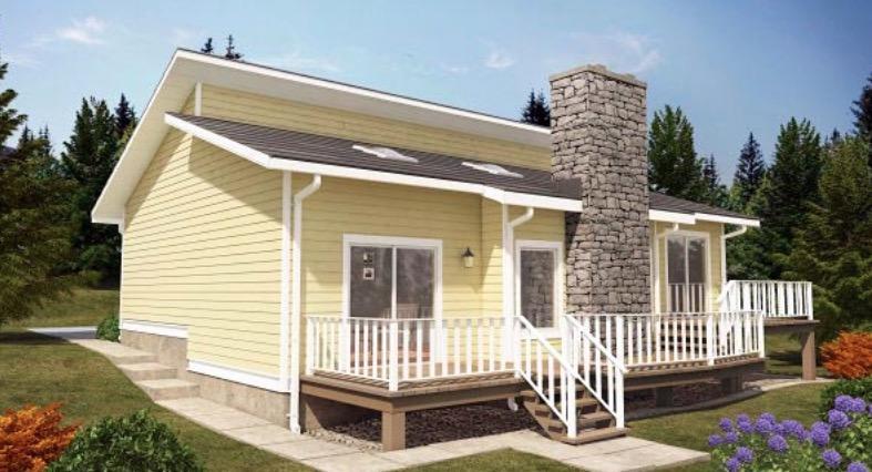 Hermoso Plano De Casa De Campo Con Chimenea Y 2 Dormitorios - Casas-de-campo-fotos