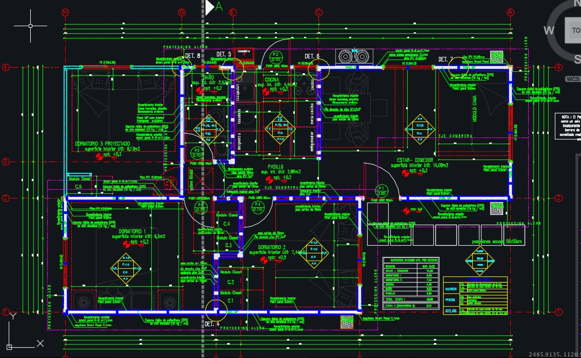 Descargar Plano de casa social completo de 46m2 (.DWG)
