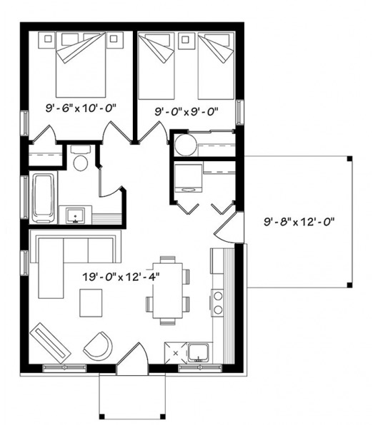 Prototipo o plano de casa peque a e 60m2 y 2 dormitorios for Casa moderna 60 m2
