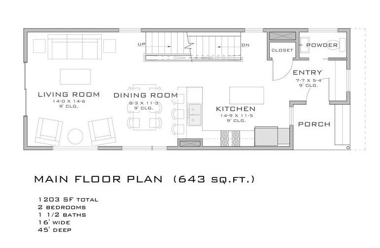 Plano de casa grande de 110 m2 con 2 dormitorios en 2 pisos - Vivir en un segundo piso ...