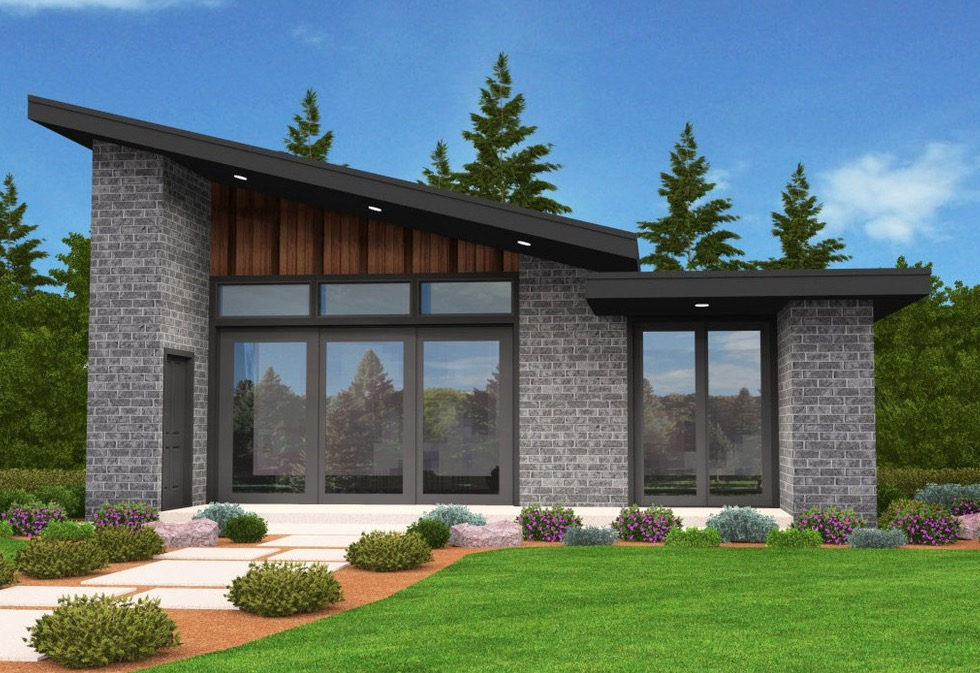 Plano de caba a con fachada moderna de 2 dormitorios for Casa moderna que es