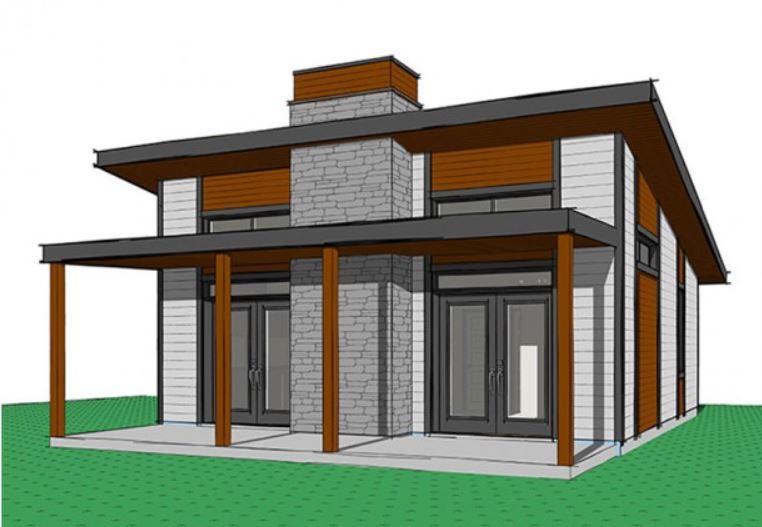 Plano de pequeña casa de 60m² con dos dormitorios