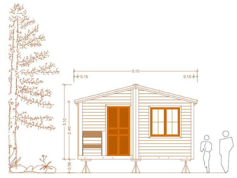 Plano de casa pequeña de 30 m² con medidas en PDF