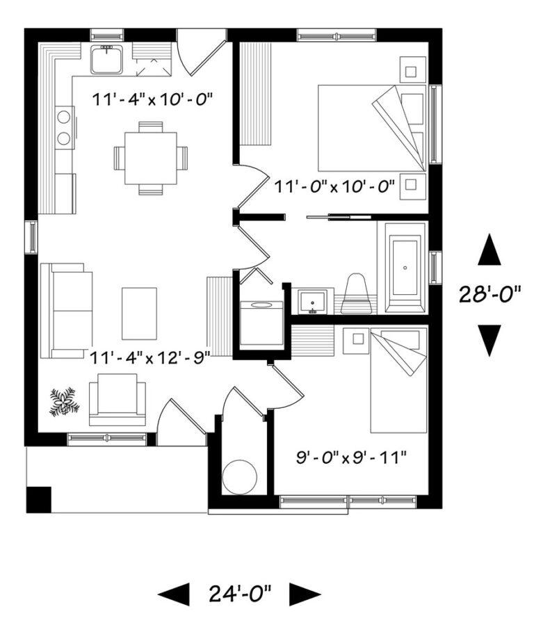 Plano de casa elegante de 2 dormitorios y 1 piso