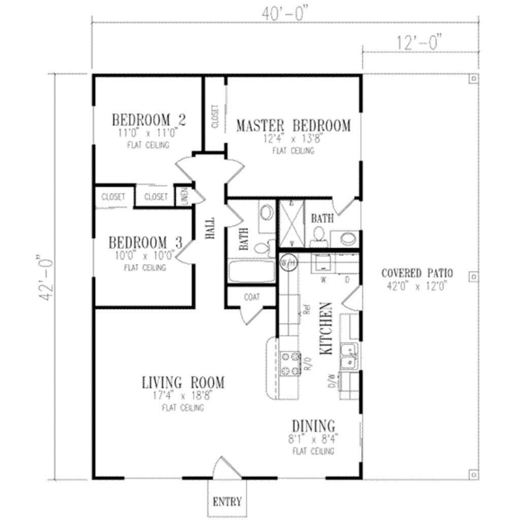 Plano de casa con 3 dormitorios y 2 baños de 100 m2