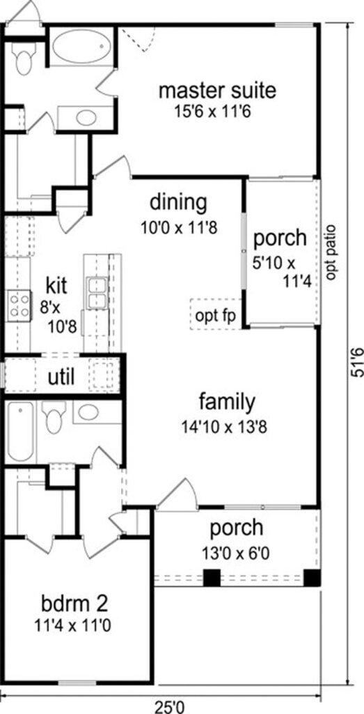 Plano de casa de 1 piso con estilo y arquitectura clásica