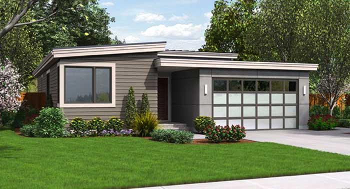 Fachada plano de casa de 1 piso con garaje