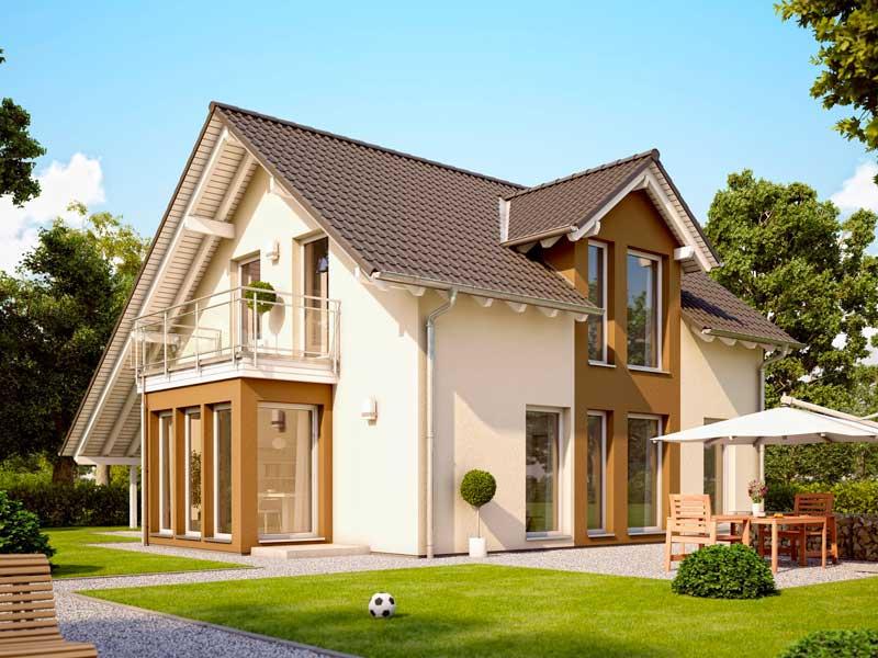 Fachada plano de casa moderna de 2 pisos 3 dormitorios