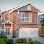 Fachada plano de casa de dos pisos gratis