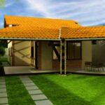 fachada plano de casa grande 1 piso 3 dormitorios