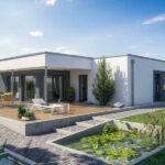 Fachada plano de casa moderno con medidas de 1 piso