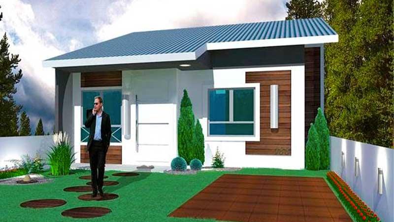 Fachada plano de casa moderna de 1 piso