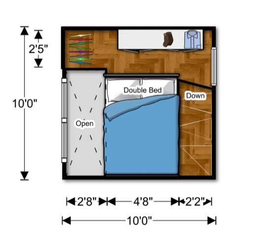 segundo piso plano de cabaña