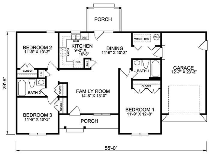 Plano de casa grande y clásica de 1 piso