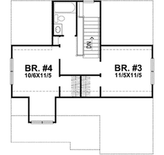 Segundo piso plano de casa de campo