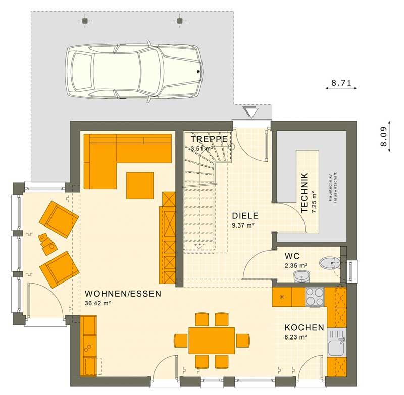 Plano de casa moderna de 3 dormitorios (Primer piso)
