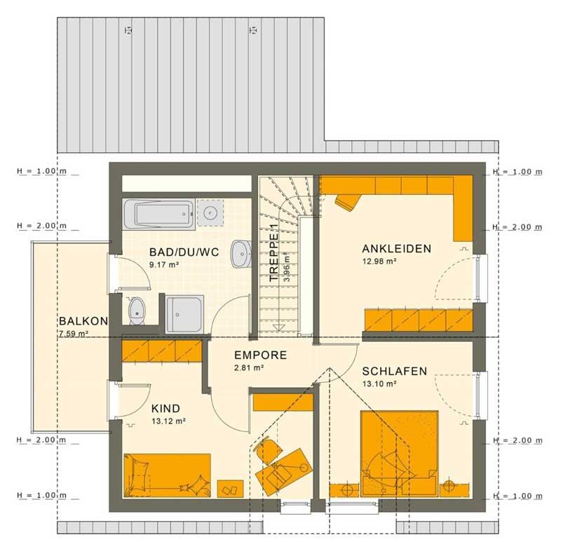 Plano de casa moderna de 3 dormitorios (Segundo piso)