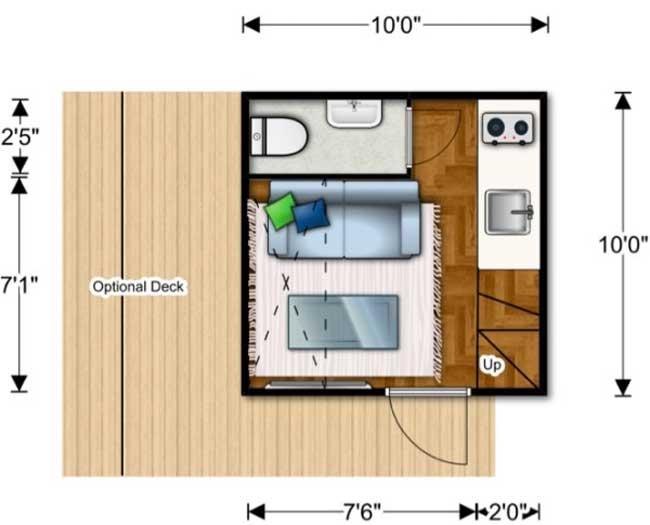 Primer piso plano de cabaña
