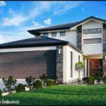 Vista previa fachada plano de casa de 2 pisos gratis