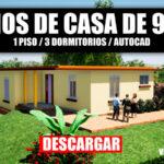 Descargar plano de casa de campo con 3 dormitorios y medidas en autocad